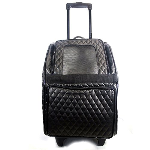 Black Quilted Petote Rio Bag on Wheels Pet Carrier, Black Quilted