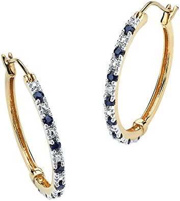 Genuine Midnight Blue Sapphire 18k Yellow Gold over .925 Sterling Silver Hoop Earrings (20mm)