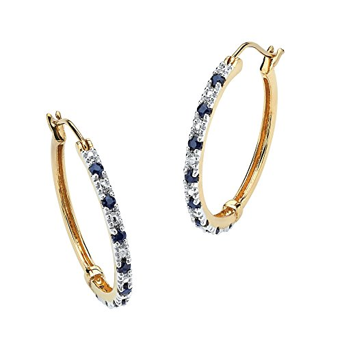 18K Gold over Sterling Silver Hoop Earrings (27mm) Genuine Blue Sapphire and Diamond Accent
