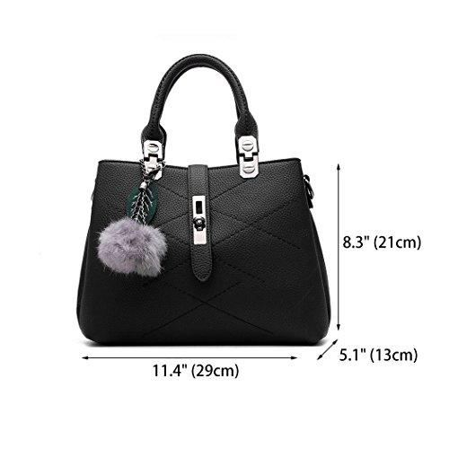 Leather PU Handle Crossbody Handbags Totes Satchel Purses Top Shoulder Bag Women's Black Bags and P6qY7B