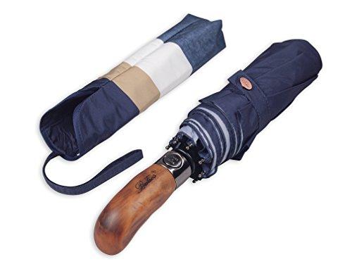 Balios Prestige Travel Folding Umbrella, Handmade Wood Handle, Auto Open & Close, Exquisite Patterns, Designed in UK (concentric octagons in four (Handle Umbrella)