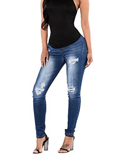Pantalons Femme Denim Jeans Slim Fit Taille Haute Leggings Collant Crayon Dchirs Aspecture