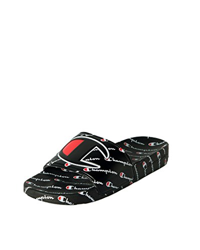 Image of CHAMPION Boys GS Ipo Repeat Script Logo All Over Print Pool Slide Sandal-BLACK BLACK_4