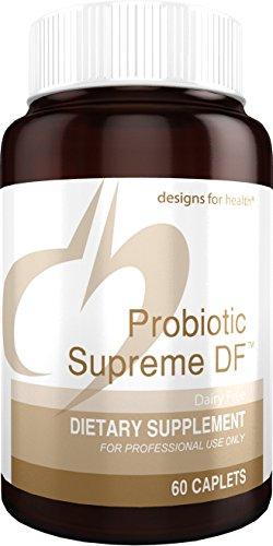 Designs for Health Probiotic Supreme DF - 15 Billion CFU Dairy-Free Probiotic Caplets for GI + Immune Health (60 Caplets)