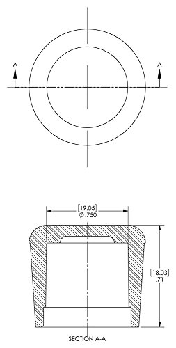Caplugs 99191839 Finishing Cap for Round Tubing and Rods, Plastic, Cap ID .750'', Length .71'', COF-3/4, black (Pack of 800) by Caplugs (Image #1)