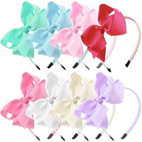 Grosgrain Ribbon Band - 5Inch Bows Hairbands Girls Grosgrain Ribbon Hair Bows Headband Kids Hair Band Children Hair Accessories Pack of 8