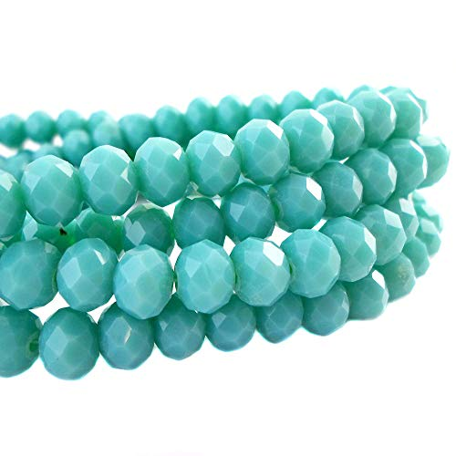 - BeadsOne 4mm - 150 pcs - Glass Rondelle Faceted Beads Turquoise Green for jewerly Making findings Handmade jewerly briolette Loose Beads Spacer Donut Faceted Top Quality 5040 (C85)