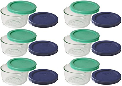 Pyrex Storage 1 Cup Round Dish, Clear with Green + Blue Lids, Pack of 6 -
