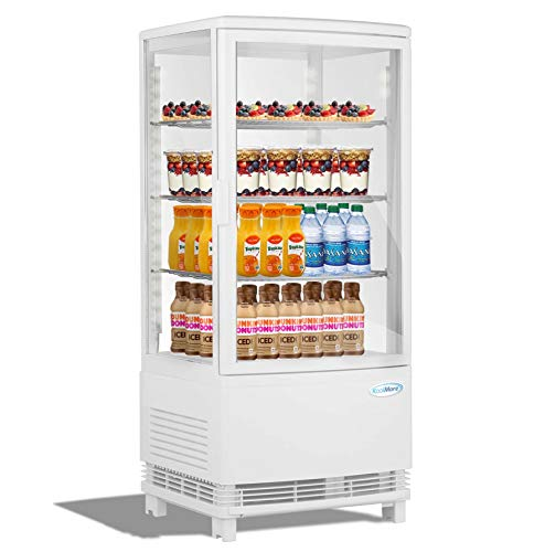 KoolMore Countertop Display Refrigerator – Commercial Beverage Cooler with LED lighting – 3 cu. ft Capacity