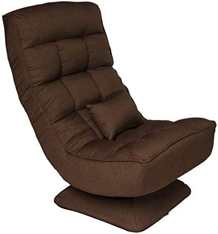 360 Rotatable Sofa Game Chair with Electric Massage Pillow, 4-Position Adjustable Folding Floor Chair, Suitable for All Kinds of People Brown