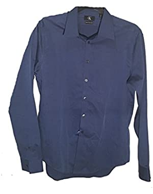 Calvin Klein Mens Button Down Slim Fit Shirt, Afternoon Sky, Large 161/2-36-37