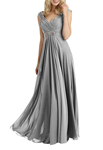 H.S.D Women's A Line V Neck Chiffon Mother of the Bride Dresses Silver Grey