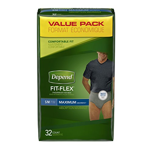 Depend FIT-FLEX Incontinence Underwear for Men, Maximum Absorbency, S/M, 32 Count