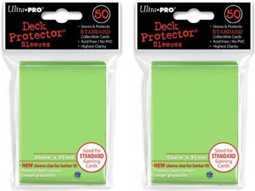 (100x) Ultra PRO Lime Green (Light) Deck Protectors Sleeves Standard MTG - Pro Lime