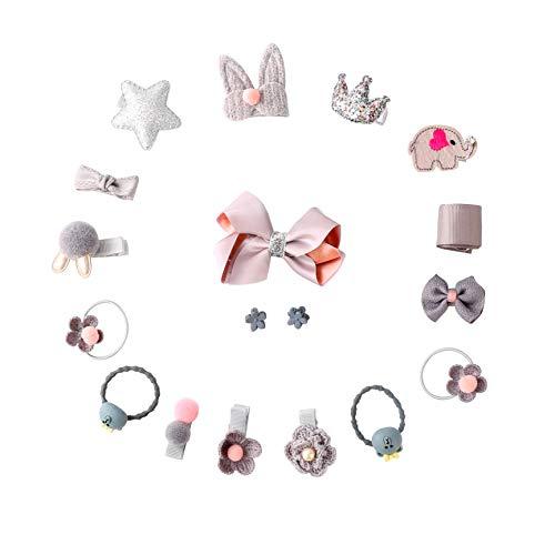 Joan Nunu 18 Pcs Baby Girls Ribbon Hair Bow Clips Hair Accessories Bows Barrettes Hairpins -
