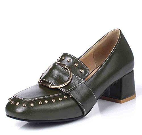 Easemax Femmes Rétro Boucle Métallique Rivets Sangles Orteils Orteils Bas Haut Mi Chunky Talon Slip Sur Les Chaussures Chaussures Vert