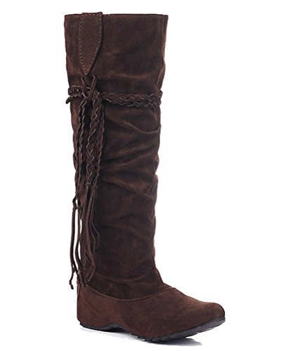 EU Brown Marrone Donna Le con Stivali Frange 35 HiTime Winter xwRzOqFY
