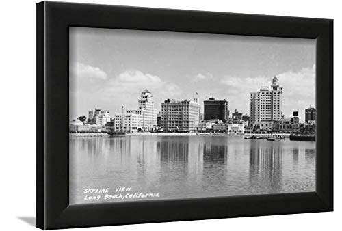 ArtEdge California City Skyline View Photograph-Long Beach, CA Black Framed Wall Art Print, 12x16 in