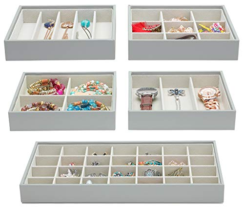 (Magic Stackable Jewelry Trays Closet Dresser Drawer Organizer for Accessories, Gadgets & Cosmetics, Storage Display Showcase Holder Box, Set of 5)