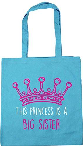 HippoWarehouse This princess is a big sister Tote Shopping Gym Beach Bag 42cm x38cm, 10 litres Surf Blue