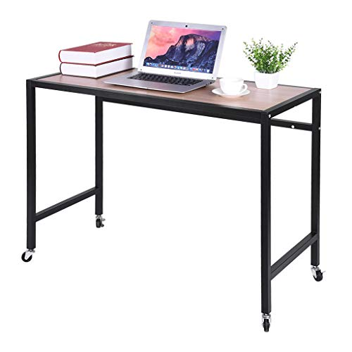Samoii Modern Computer Desk, 40 inches Large Office Desk Computer Table Study Writing Desk for Home Office, Moveable Solid Metal Frame with Rolling Wheels [USA]