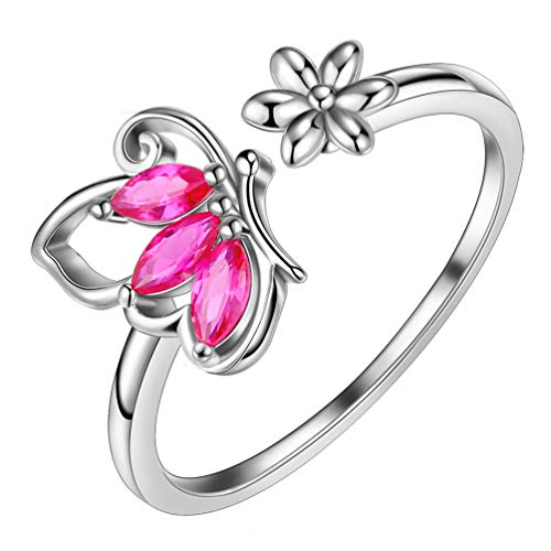 (Aurora Tears Red Butterfly Daisy Ring Flower Women 925 Sterling Silver July-Birthstone Butterflies Bands Adjustable Rings Girls Crystal Cubic Zirconia Jul.-Ruby Butterflies Animal Jewelry DR0074R)