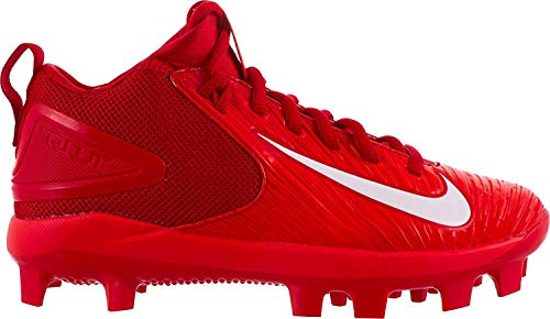 Image of NIKE Kids' Force Trout 3 Pro Mid Baseball Cleats (4.5, Red/White)