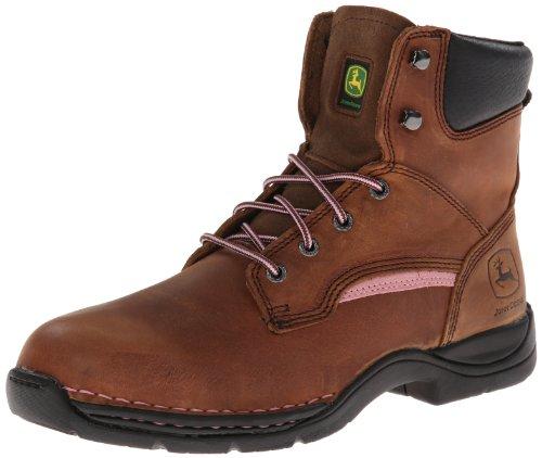 John Deere Women's JD3612 6'' Steel Toe Lace Up Boot,Brown/Pink,10 W US by John Deere