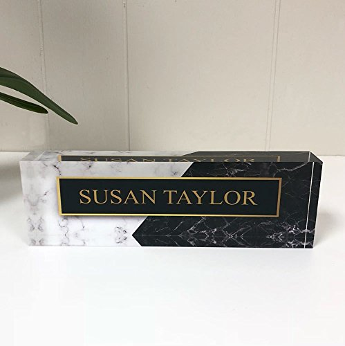 Desk Name Plate Personalized Name on Black & White Marble Printed on Premium Clear Acrylic Glass Block Custom Office Decor Desk Nameplate Unique Customized Desk Accessories Appreciation ()