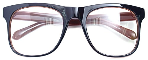 Big Square Horn Rim Eyeglasses Nerd Spectacles Clear Lens Classic Geek Glasses (Brown 89198, - Nerd Big Prescription Glasses