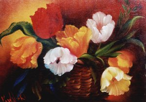 How-to Painting Packet Basket of Tulips