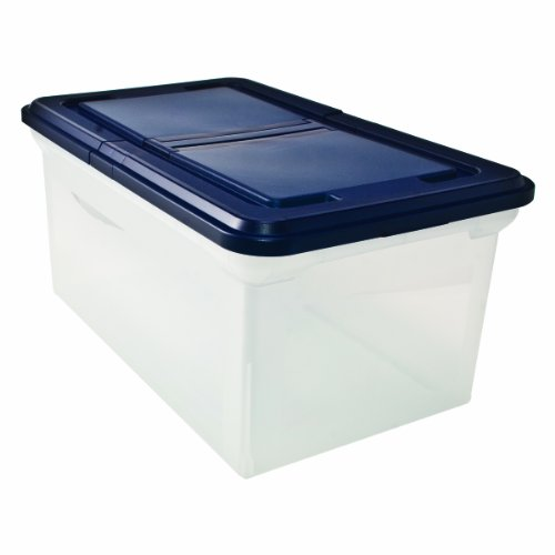 Innovative Storage Designs 55797 File Tote with Hinged Lid, Letter, Plastic, Clear/Navy