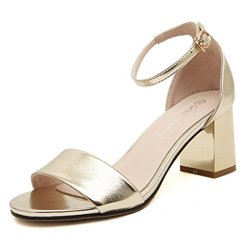 Women's Faux Gold Leather Sandals Renly Ankle Strap Chunky Heel UqHWd