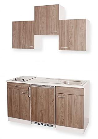 Küchenblock MEBASA Miniküche 150 cm Ulme Dekor: Amazon.de: Elektro ...