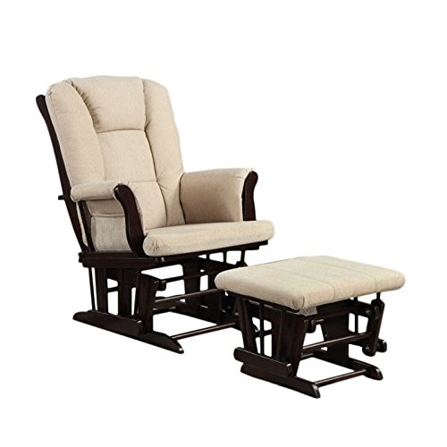 BOWERY HILL Beige Microfiber Glider with Matching Ottoman by BOWERY HILL