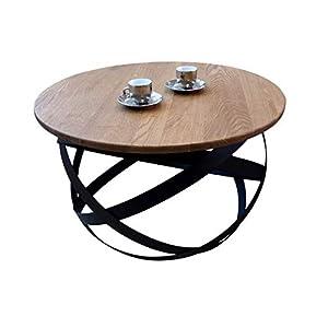 Lumarc Firenze Table Basse Ronde en Bois Massif de chêne Naturel au Design Moderne, Industriel, Minimaliste, Ø 70 x 42,5…