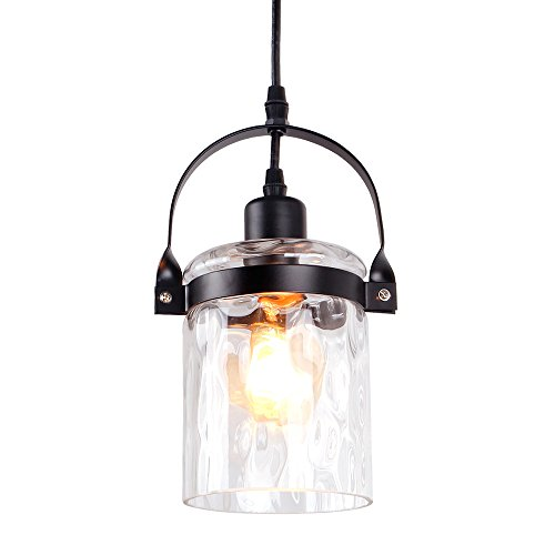 Anmytek P0020 Vintage Edison Hanging Pendant Stone Striped Glass Shade Metal Finishing Industrial Retro Antique Loft Style Chandelier