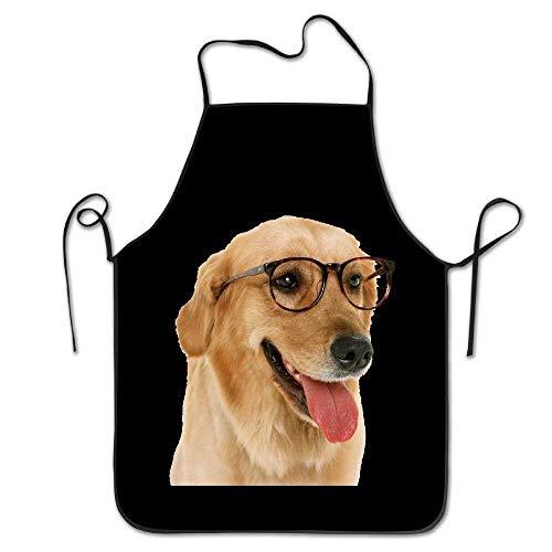 Dozili Kitchen Cooking Apron Creative Dog Golden Retriever Cute 100% Cotton Kitchen Chef Apron Baking BBQ Apron for Men Women 31
