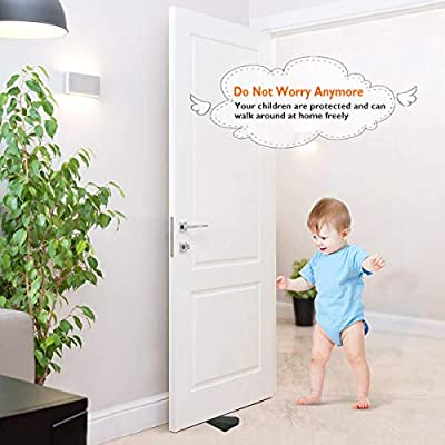 [3 Pack] Premium Rubber Door Stopper - Non-Toxic No unpleasant Door Stopper Works on All Floor Surfaces, Prevents Pinching of Small Child Fingers - Protection Buffer Stop Damper