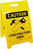 NMC FS16 Double Sided Floor Sign, Legend ''CAUTION - HARD HAT AREA CONSTRUCTION AREA'' with Graphic, 12'' Length x 20'' Height, Coroplast, Black on Yellow