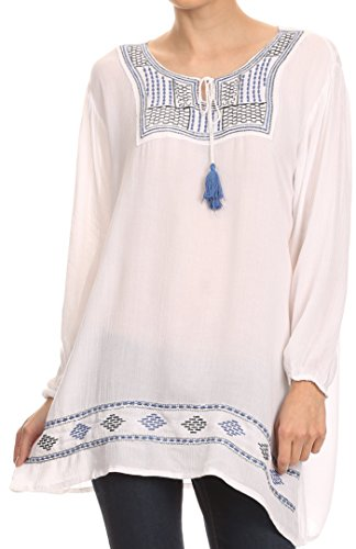 Sakkas VT202 - Samne Long 3/4 Length Sleeve Embroidered Batik Blouse Tunic Shirt Top - White/Blue - OS