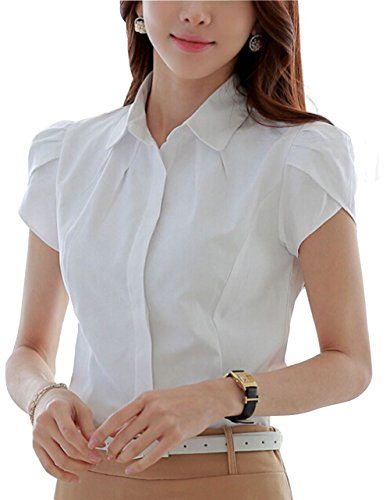 Double Plus Open Lady's Cotton Collared Pleated Button Down Dressy Shirt Short Sleeve Blouse White Solid - Blouse White Cap Sleeve