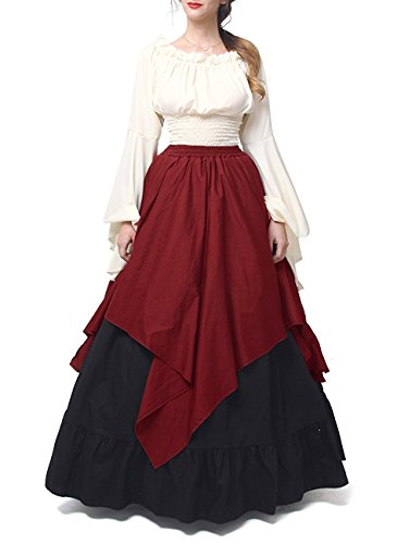 Farktop Women's Renaissance Medieval Costume Vintage Dress Gothic Victorian Fancy Dresses Plus (Medieval Fancy Dress Plus Size)