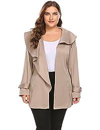 a29bcac53992e Women s Plus Size Lapel Short Trench Coat with Striped Belt
