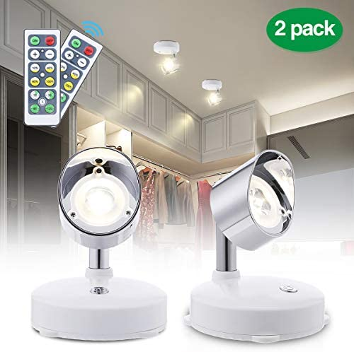 Elfeland LED Closet Lights LED Spotlight Wireless Puck Lights with Remote Battery Operated Accent Lights Dimmable Cabinet Lights with Rotatable Light Head Stick on Anywhere Indoor,Warm White 2 Pack