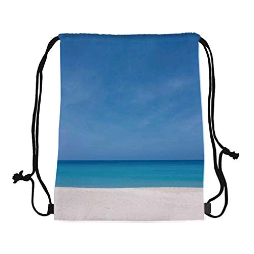 Ocean Canvas Drawstring Bag,Sandy Paradise Beach with No One around Relax Off Gone Away Theme Print in Tropical Land for Travel Shopping,One_Size