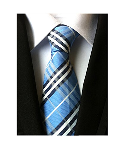 Striped Silk Woven Classic Check Man's Business Tie Necktie Korea Style Ties, Blue, One Size