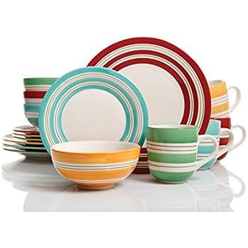 Studio California Sunset Stripes 16 pc Dinnerware Set 4 Assorted Colors Stoneware  sc 1 st  Amazon.com & Amazon.com   Vremi 16 Piece Dinnerware Set Service for 4 - Round ...