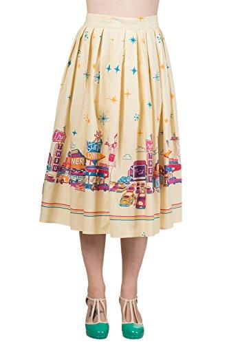 Banned-Plus-60s-Retro-Star-City-Vintage-Cinema-Art-Pleated-midi-skirt