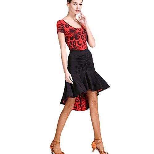 Competición Traje Corta Baile Rojo De Profesional Mujer Baile Manga Wangmei Y Práctica Vestido Estampado Para Latino wzpzHqP